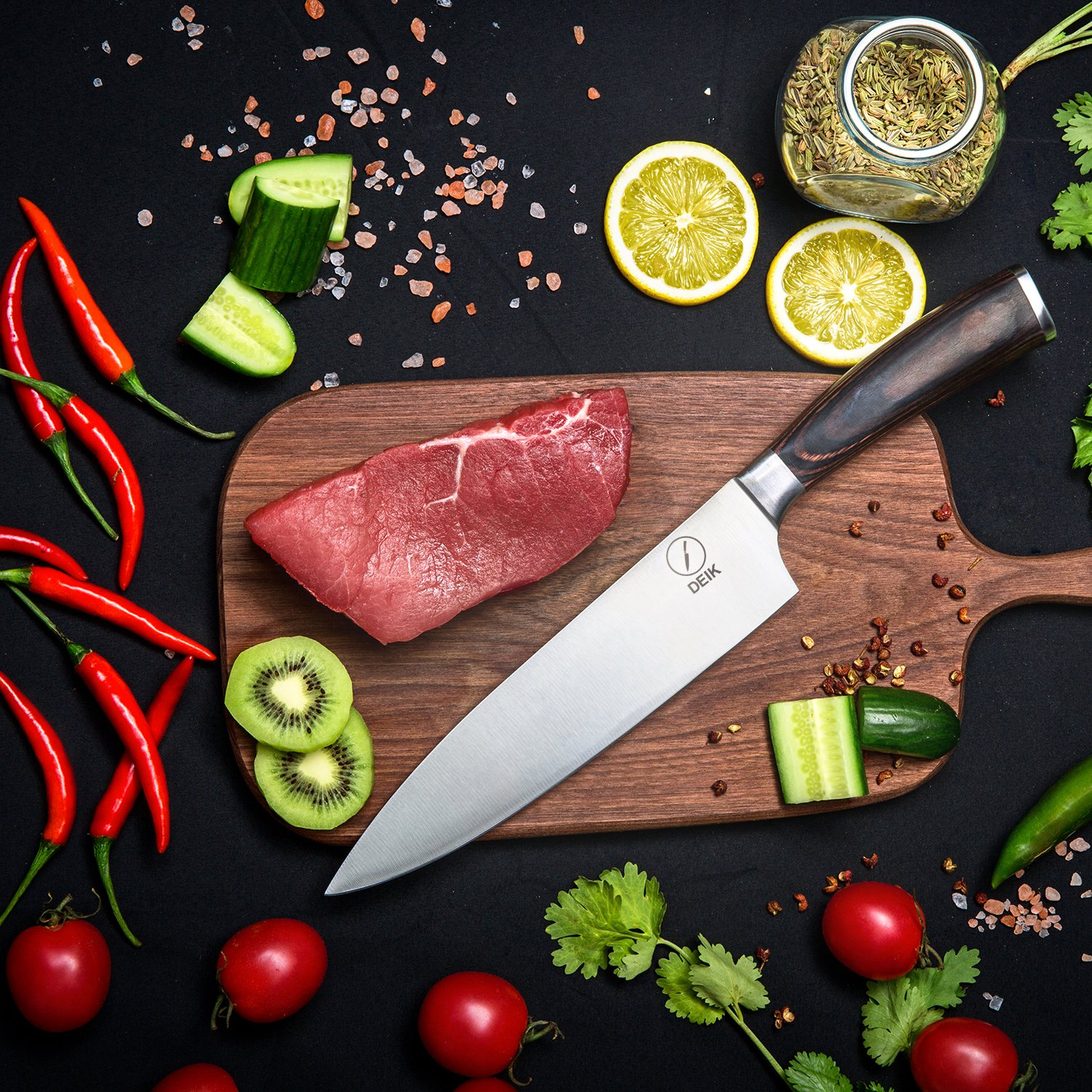 Deik Chef Knife, 8 Inch Kitchen Knife with 1.4116 Imported Stainless Steel, Professional Grade Balance and Super Sharp with Ergnonomic Classy Wooden Handle by Deik (Image #6)