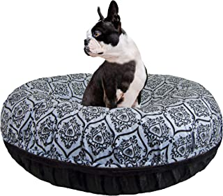 product image for Bessie and Barnie Signature Black Puma / Versailles Blue Extra Plush Faux Fur Bagel Pet / Dog Bed (Multiple Sizes)