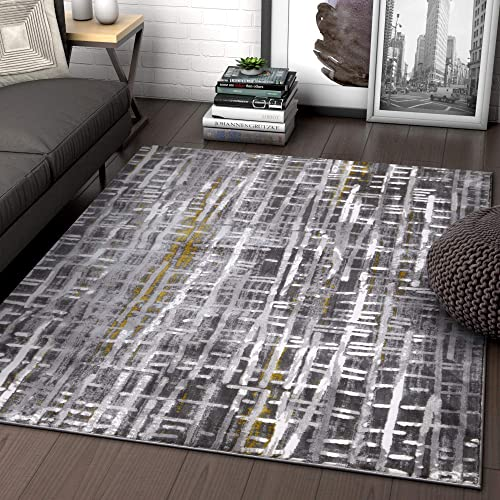 Grey Yellow Gold Modern Geometric High-Low Pile Area Rug 5×7 5 3 x 7 3 Abstract Washed Out Industrial Carpet