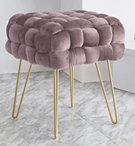 Ornavo Home Mirage Modern Contemporary Square Woven Upholstered Velvet Ottoman with Gold Metal Legs - Blush