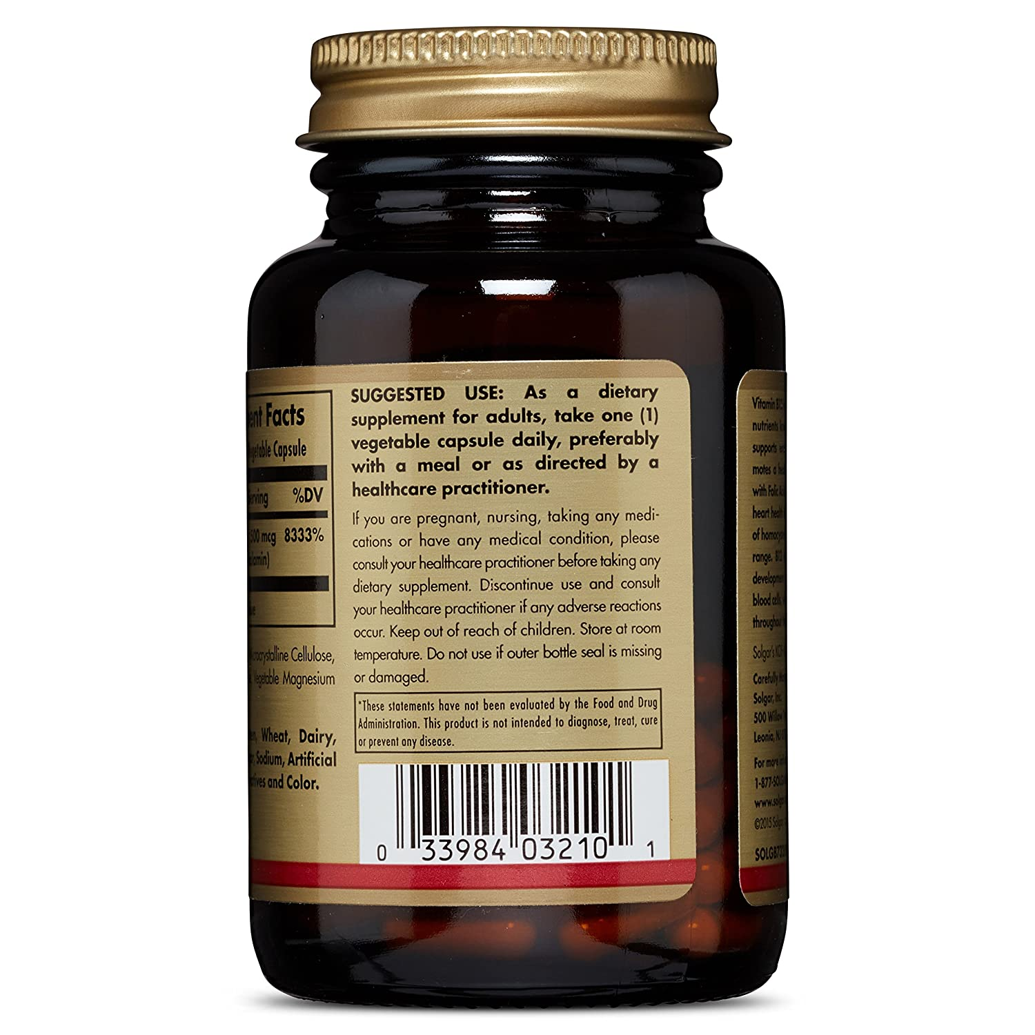 Amazon.com: Solgar - Vitamin B12, 500 mcg, 100 Vegetable Capsules: Health & Personal Care