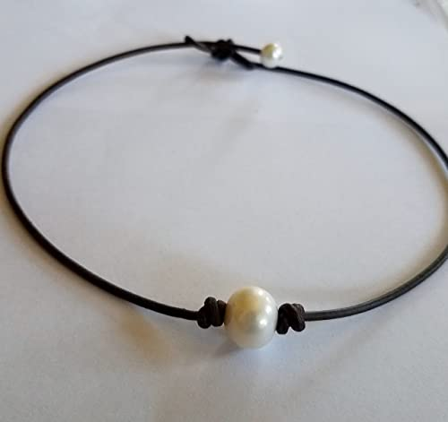 Black Leather Rope /& White Freshwater Pearl Necklace AAA+
