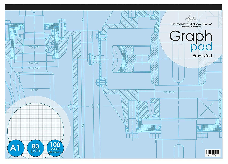 grille de 5 mm The Worcestershire Stationery Company 1199 100 pages Pav/é graphique A1 paysage 50 feuilles