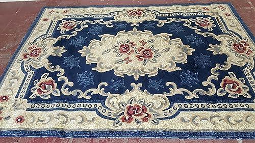 Classic Aubusson Traditional Area Rug Dark Blue Design 507 5 Feet 3 Inch X 7 Feet 2 Inch