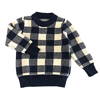 ae120a0bb Amazon.com: accsa Kid Girl Long Sleeve Soft Plaid Red/Black Turtleneck Pullover  Sweater Age 5-12: Clothing