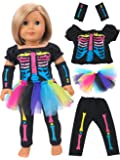 "Electric Neon Skeleton Girl Halloween Costume | Fits 18"" American Girl Dolls, Madame Alexander, Our Generation, etc. 