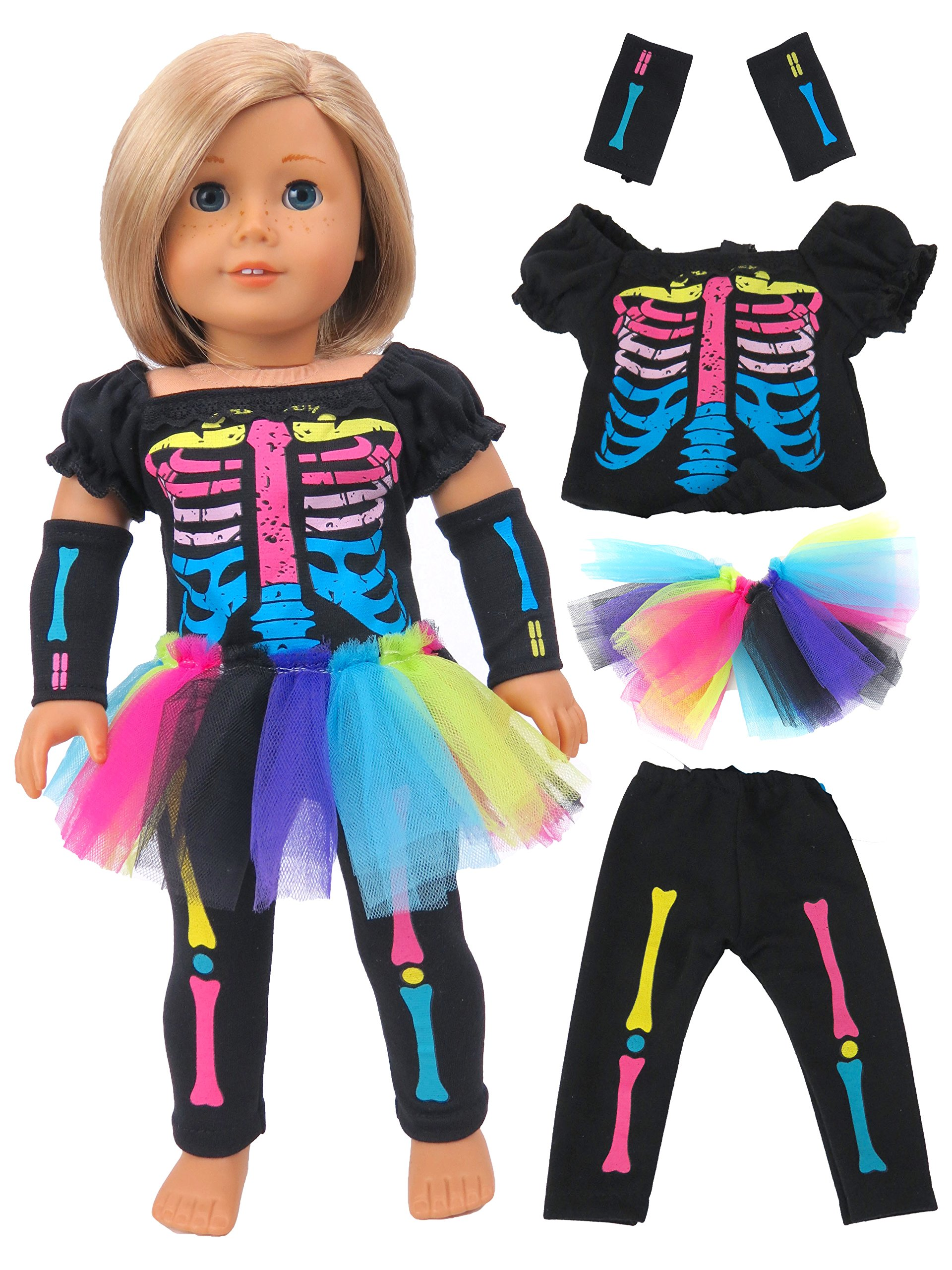 Electric Neon Skeleton Girl Halloween Costume | Fits 18'' American Girl Dolls, Madame Alexander, Our Generation, etc. | 18 Inch Doll Clothes