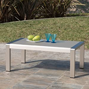 Crested Bay Patio Furniture ~ Aluminum Outdoor Coffee Table with Tempered Glass Top