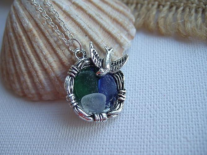 Birds nest pendant filled with scottish sea glass tinies in green birds nest pendant filled with scottish sea glass tinies in green blue and white whimsical aloadofball Choice Image