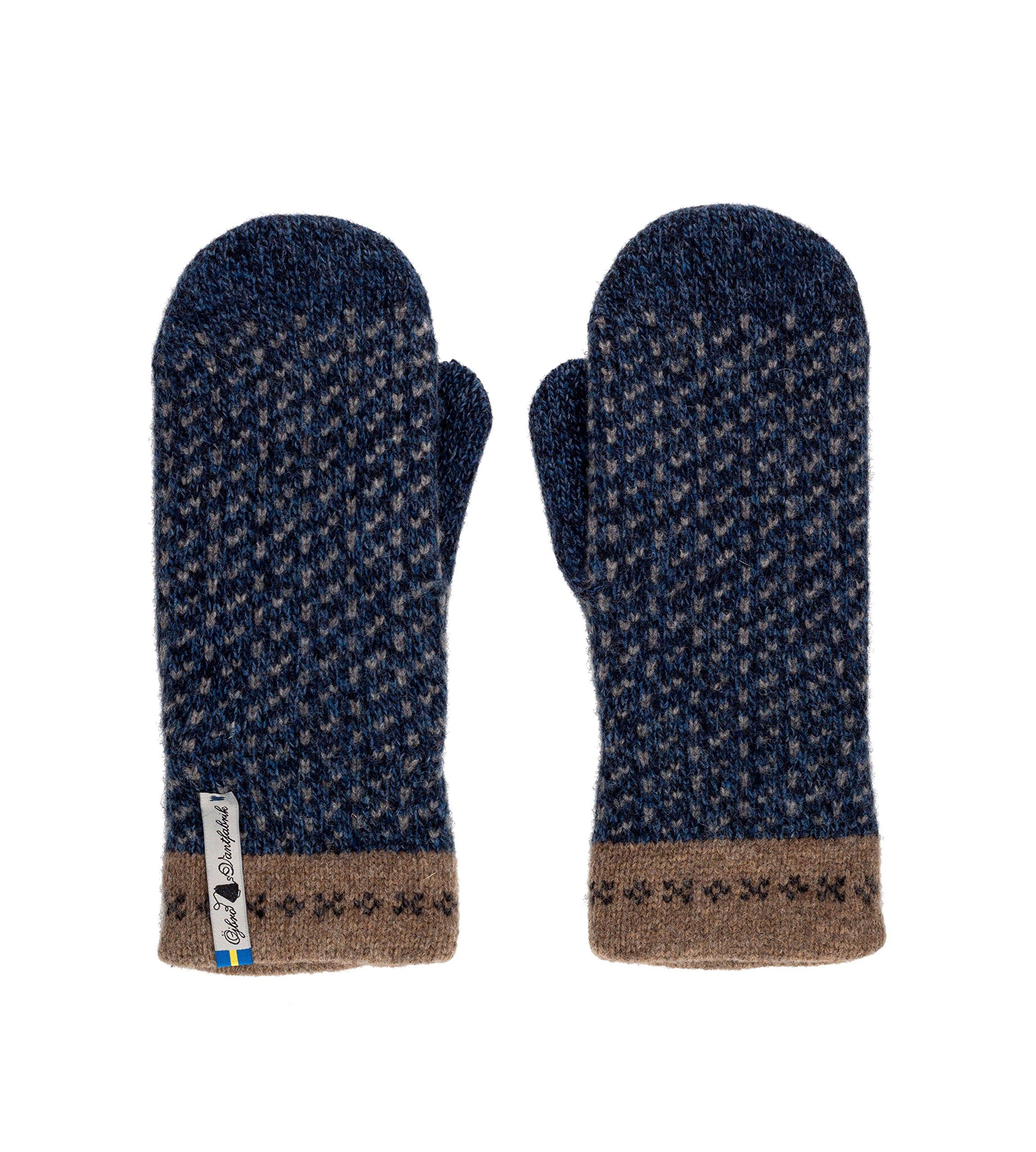 Öjbro Swedish made 100% Merino Wool Soft Thick & Extremely Warm Mittens (Medium, Skaftö Marin)