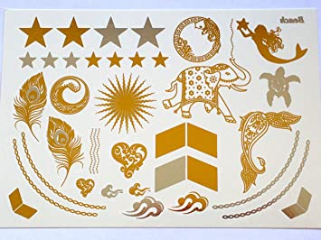 5bd64d1b8 Amazon.com : Gold & Silver Metallic Temporary Bling Tattoos By ...