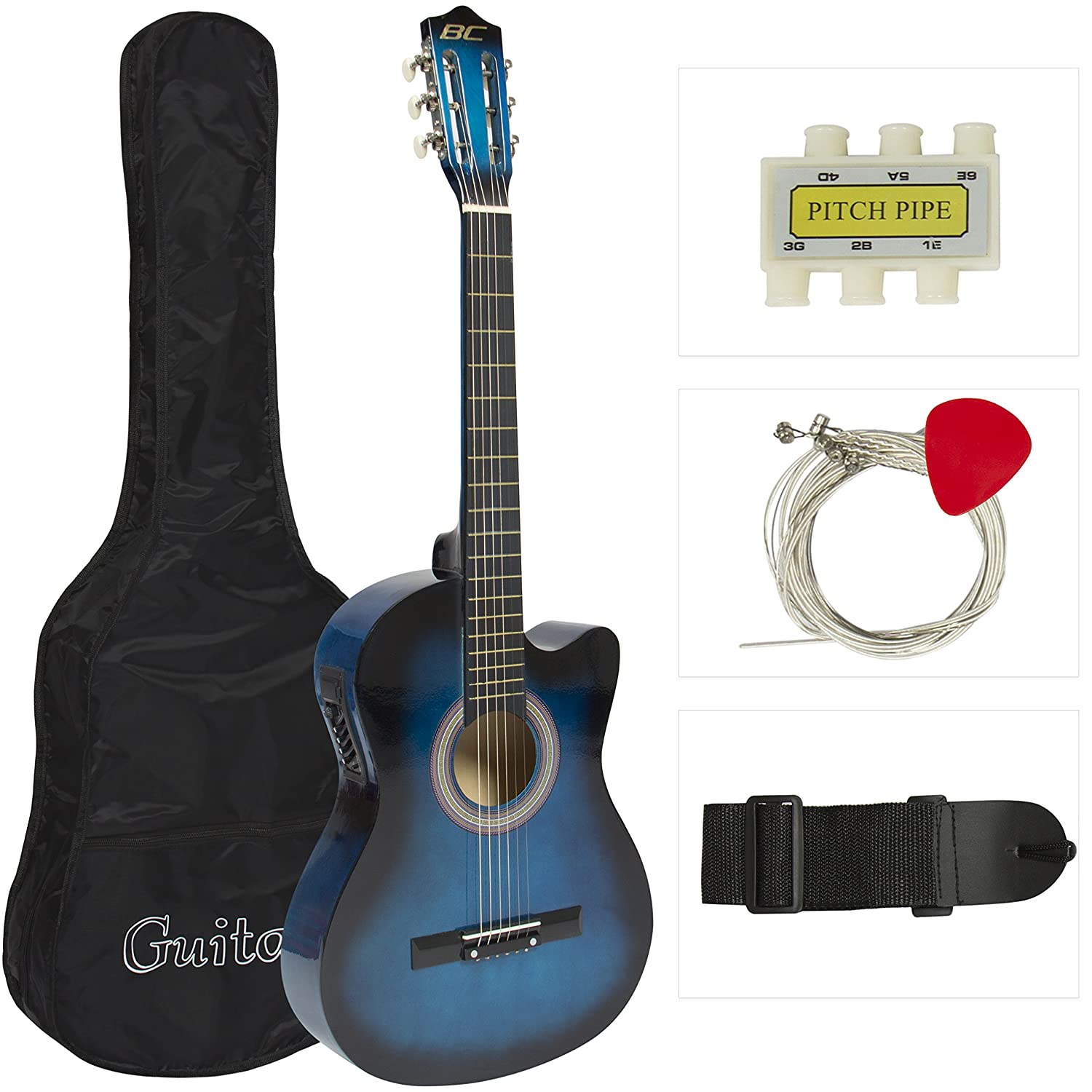 Electric Acoustic Guitar Cutaway Design With Guitar Case, Strap, Tuner Blue New SKY57