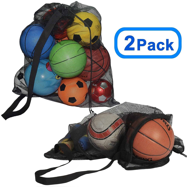 Koloo Extra Thickスポーツボール巾着メッシュバッグwith Adjustable Shoulderストラップ, Extra Large多目的バッグバスケットボールバレーボールサッカー水用スポーツビーチスキューバダイビング水泳ギア B07C4QF5HY2ブラック