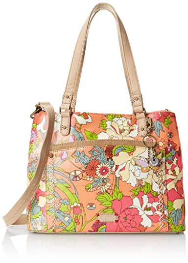 Sakroots Artist Circle Large Convertible Satchel Top Handle Bag - Apricot  Flower Power