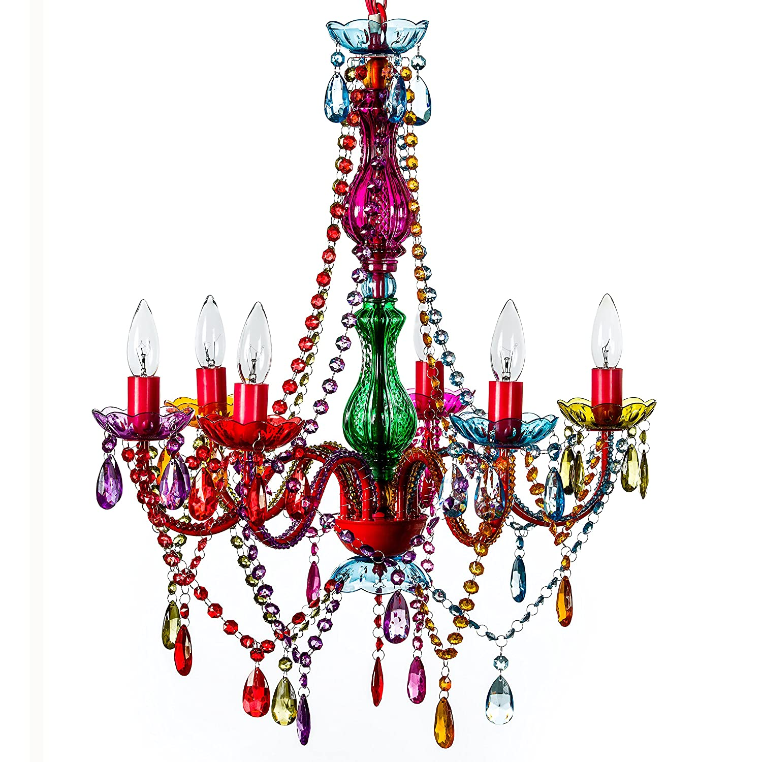 The Original Gypsy Color 6 Light Large Chandelier H26 W22 Red Metal Frame With Multi Acrylic Crystals Com