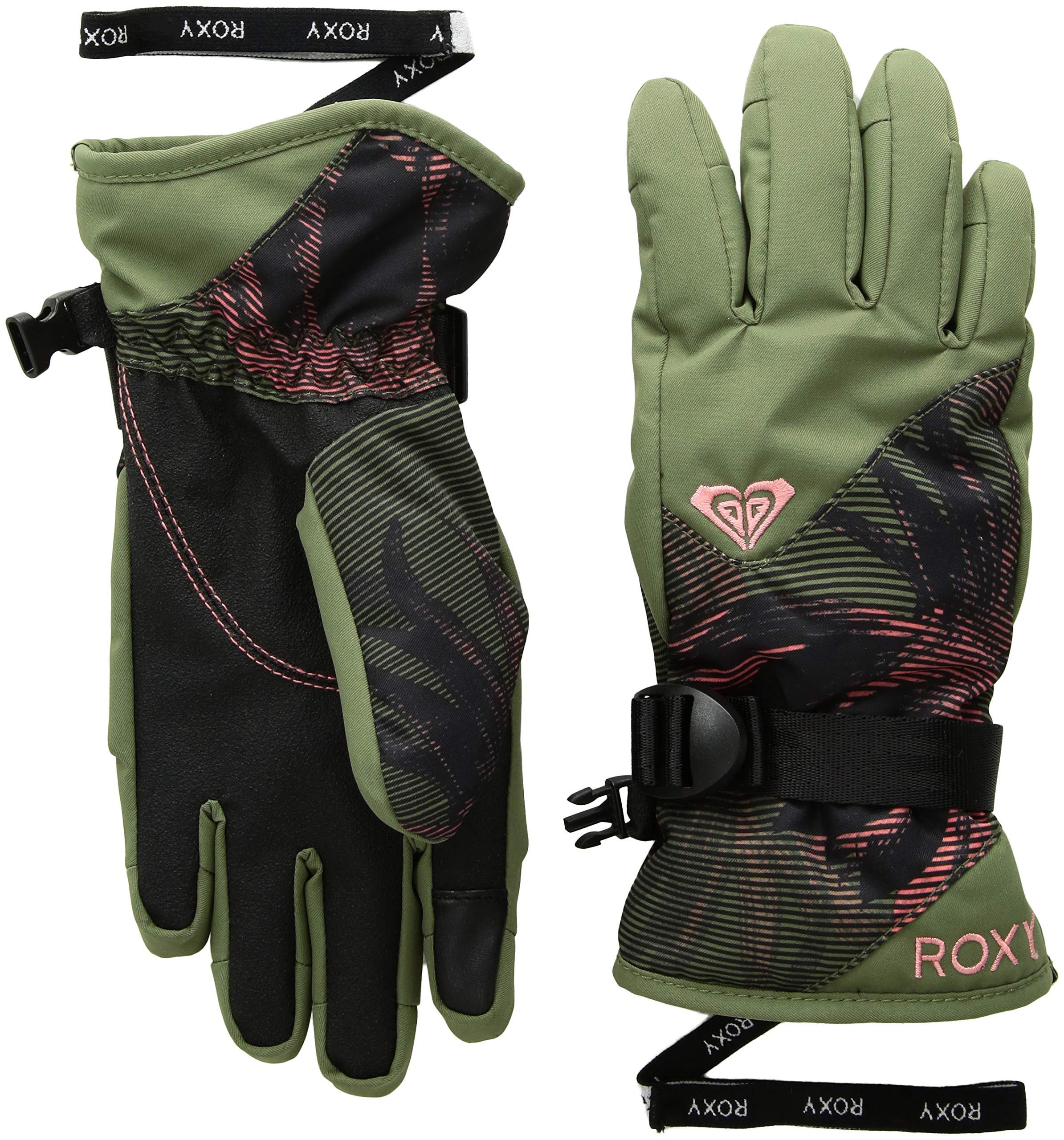 Roxy Little Girls' Jetty Snow Gloves, True BLACK_SWELL Flowers Girl, L