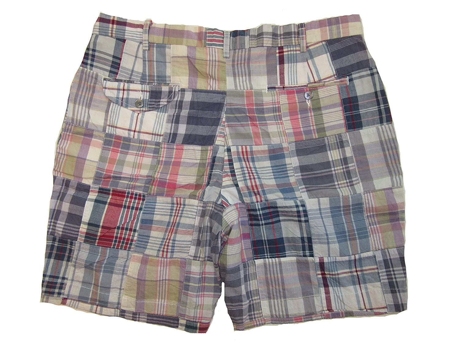 RALPH LAUREN Polo Mens Weathered Madras Plaid Patchwork Shorts