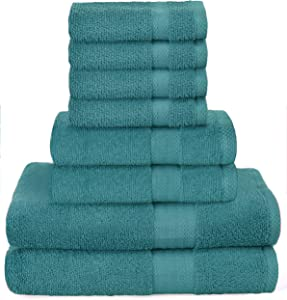 GLAMBURG Ultra Soft 8-Piece Towel Set - 100% Pure Ringspun Cotton, Contains 2 Oversized Bath Towels 30x54, 2 Hand Towels 16x28, 4 Wash Cloths 13x13 - Ideal for Everyday use, Hotel & Spa - Teal