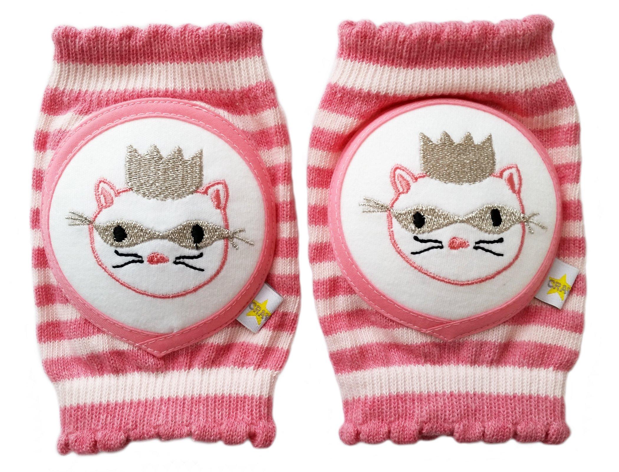 Crawlings Masked Princess Cat Kneepads One Size Peony (One Size, Peony Pink) by Crawlings