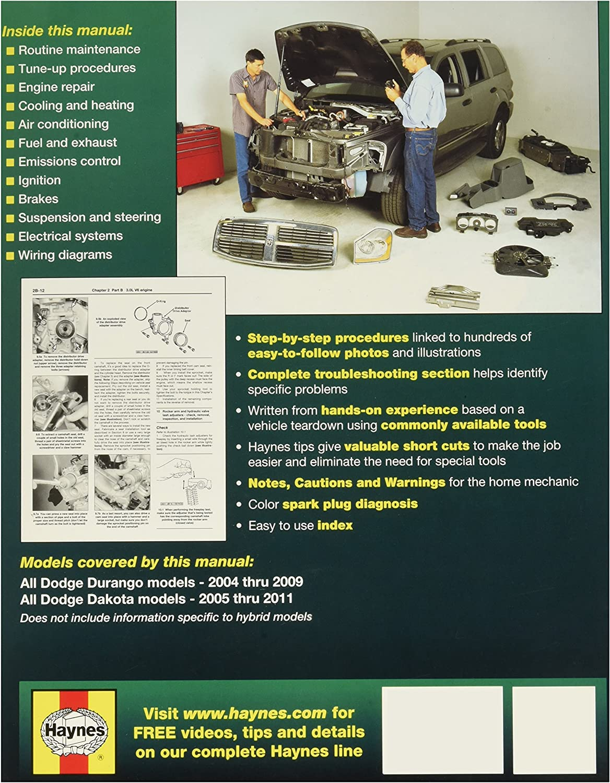 Amazon Com Haynes Dodge Durango 04 09 Dakota Pick Ups 05 11 Technical Repair Manual Automotive