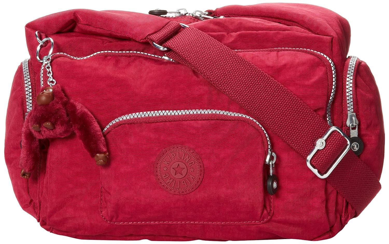 Deep Red Kipling Erica Handbag, Removable, Adjustable Crossbody Bag, Zip Closure, Metallic Pewter