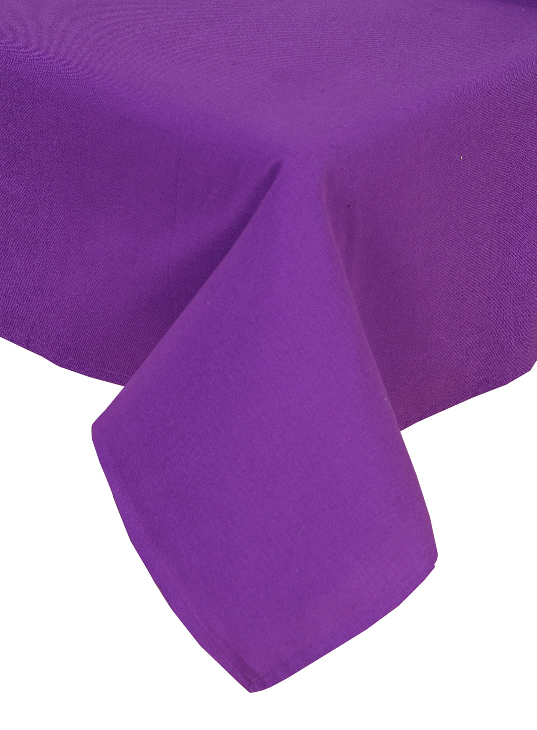 Linen Clubs 100% Cotton, Machine Washable, Everyday Kitchen Tablecloth For Dinner Parties, Summer & Outdoor Picnics - 52x72, Color - Plum, Set of 2 Pieces