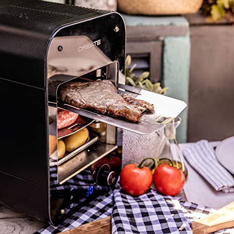IKOHS BBQ Grill IN&out - Barbacoa Grill Eléctrica para Carnes, Verduras y Pescados, 1600W, Acero Inoxidable, de 0°C a 850°C y Asar los Alimentos, 6 ...
