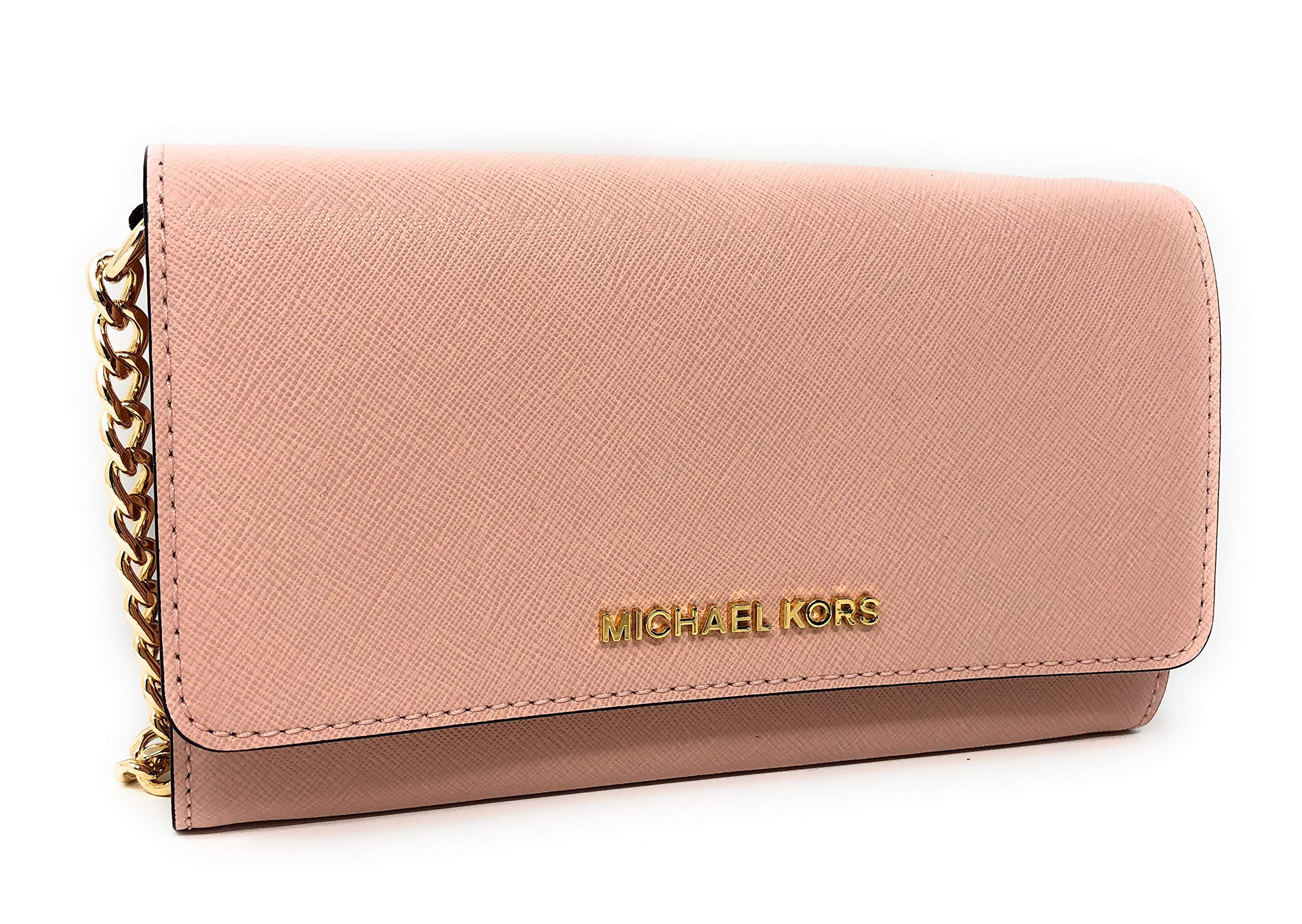 Michael Kors Jet Set Travel Large Leather Wallet Phone Crossbody Bag in Pastel Pink