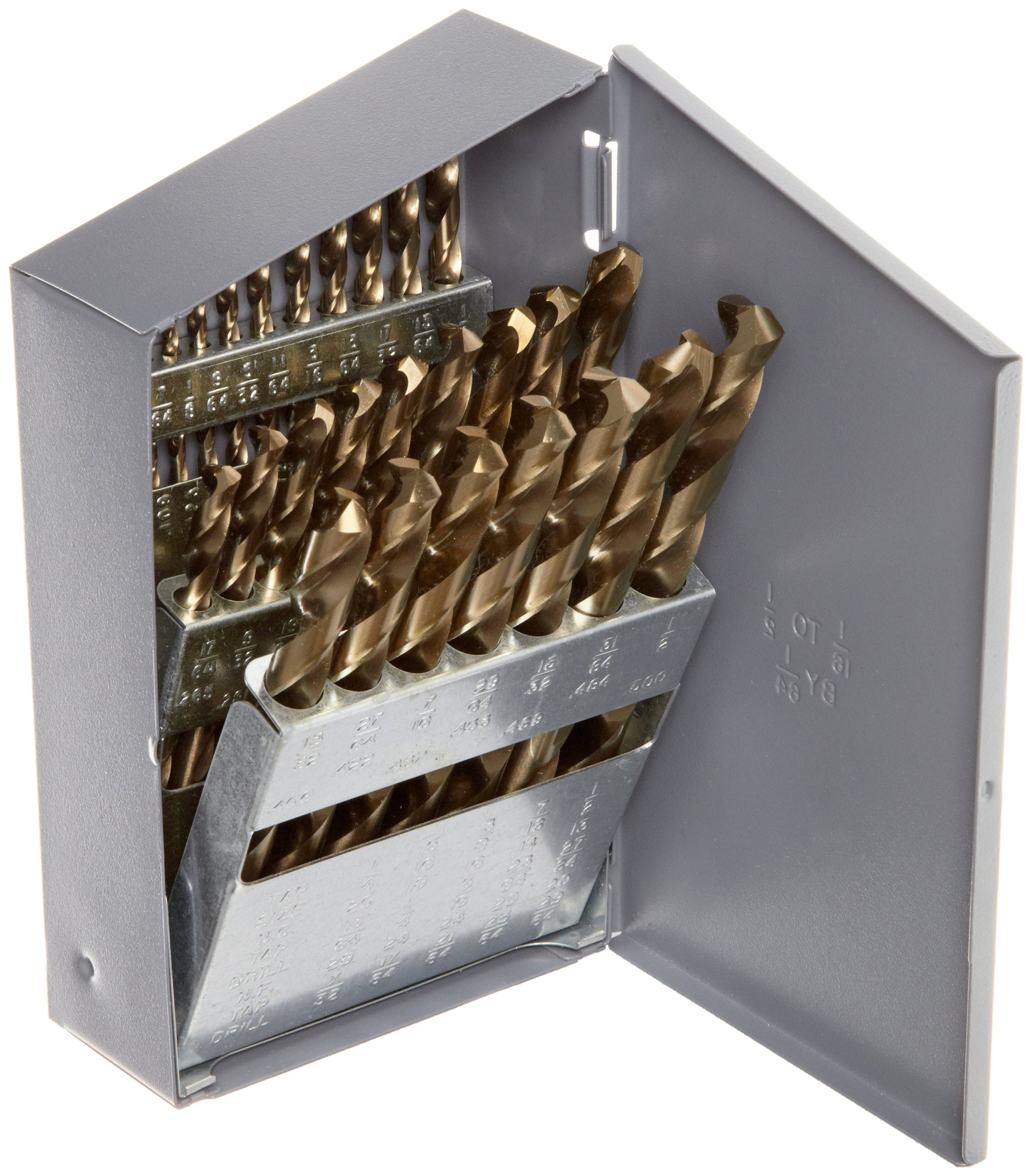 Chicago Latrobe 550 Series Cobalt Steel Jobber Length Drill Bit Set with Metal Case, Gold Oxide Finish, 135 Degree Split Point, Inch, 29-piece, 1/16'' - 1/2'' in 1/64'' increments by Chicago Latrobe (Image #1)