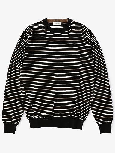 Cotton Multi Stripe Crewneck Sweater 1113-699-3883: Black