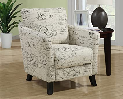 Monarch Specialties Vintage French Fabric Accent Chair, Off White