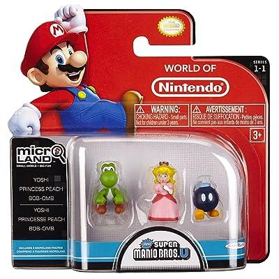 Nintendo Mario Bros Universe Micro Wave 1: Bob-Om, Princess Peach and Yoshi Action Figure, 3-Pack: Toys & Games