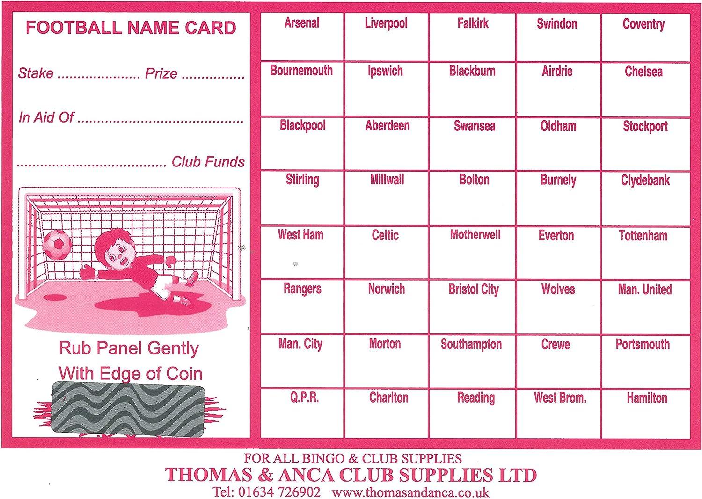100 x 40 Team football scratch cards UK team names FUNDRAISING IDEAS