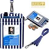 ELV Badge Holder, ID Badge Card Holder Wallet with 5 Card Slots, 1 RFID Blocking Pocket and Neck Lanyard Strap for Offices ID, School ID, Driver Licence