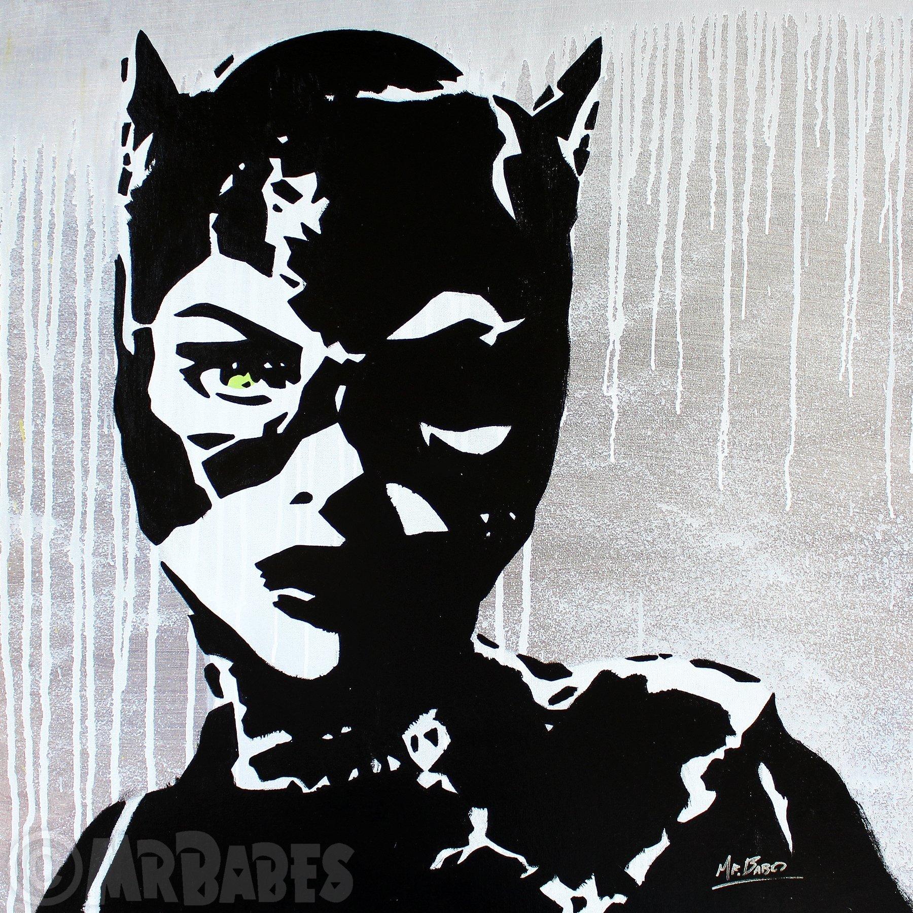 MR.BABES - ''Batman Returns: Catwoman (Michelle Pfeiffer)'' - Original Pop Art Painting - Comic Book Movie Portrait