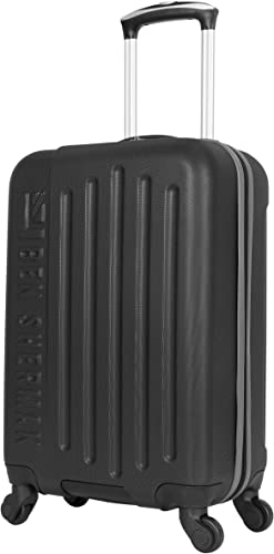 Ben Sherman Leicester 20 Lightweight Durable Hardside 4-Wheel Spinner Carry-On Luggage, Black With Gray