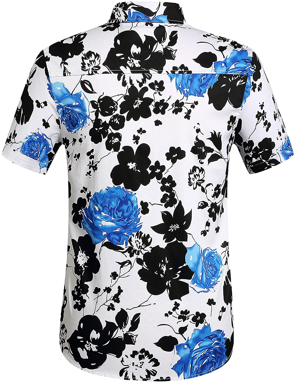 SSLR Mens Short Sleeve Tropical Button Down Hawaiian Shirt
