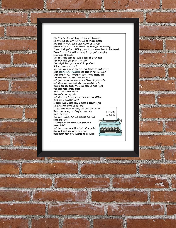 Famous Blue Raincoat Leonard Cohen Impresi/ón l/írica Unframed Print Famoso impermeable azul