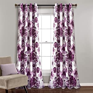"""Lush Decor Leah Floral Curtains Darkening Window Panel Set for Living, Dining Room, Bedroom (Pair), 84"""" x 52"""", Purple and Gray, L"""