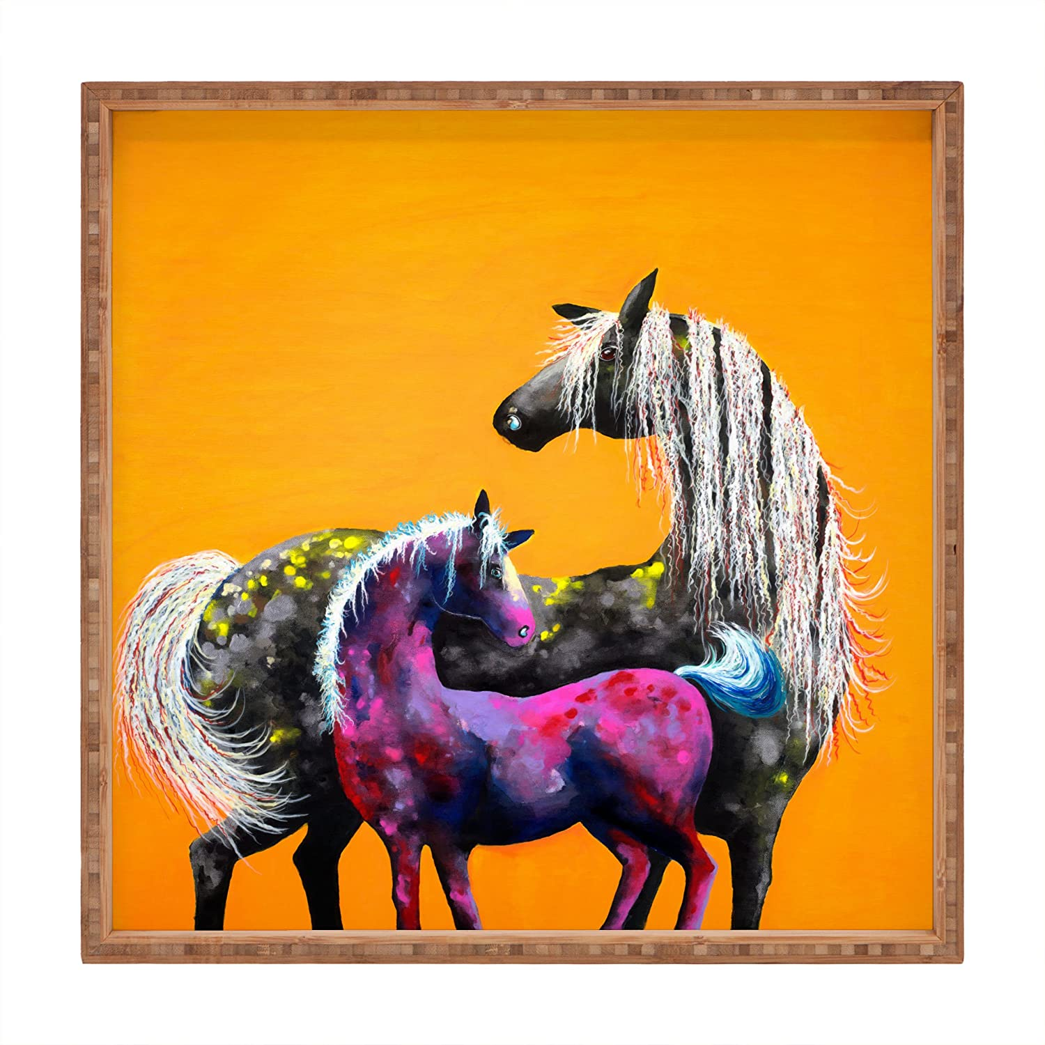 Deny Designs Clara Nilles Painted Ponies On Papaya Creme Indoor//Outdoor Square Tray Large//16 x 16