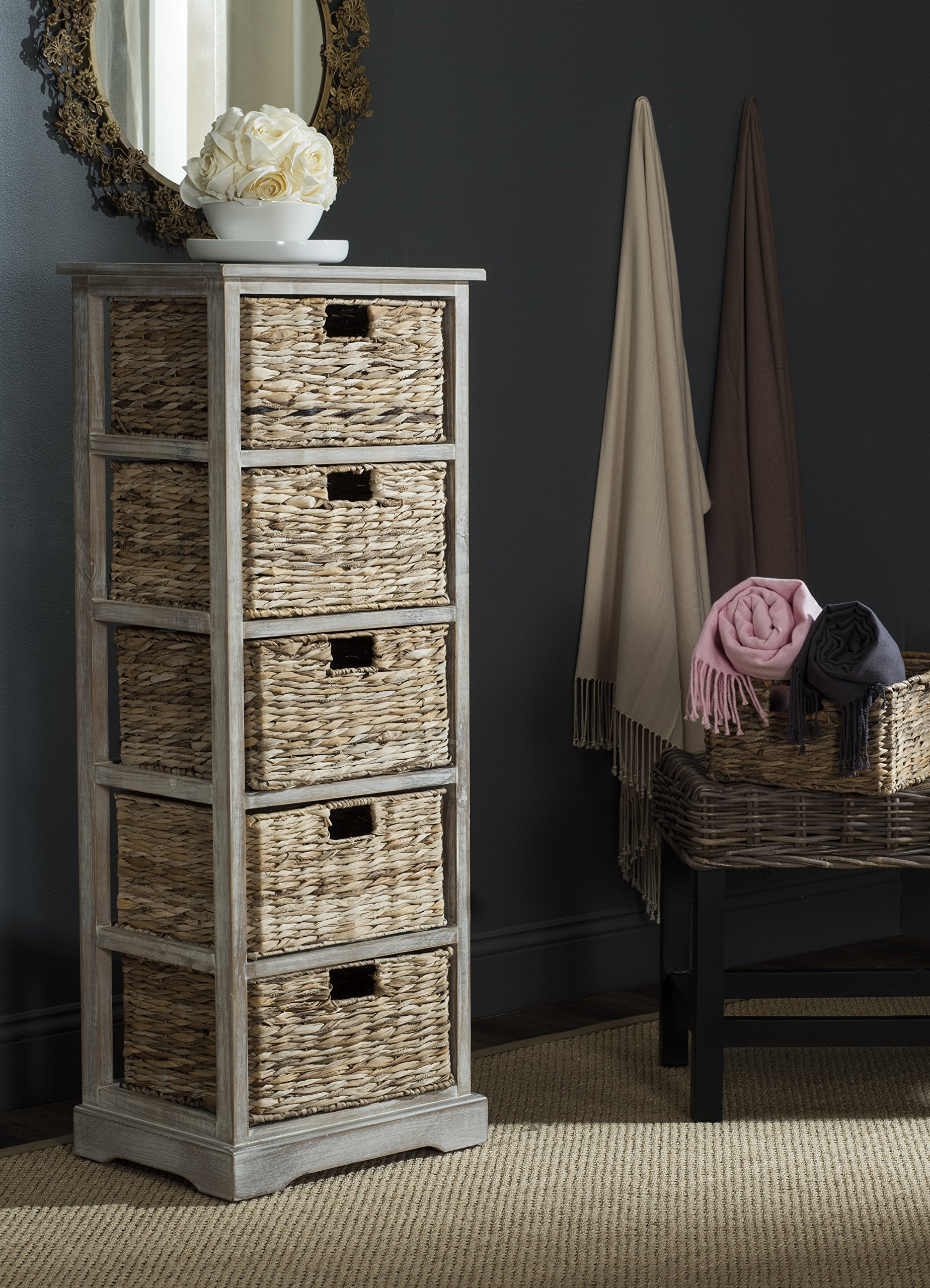 Safavieh American Homes Collection Vedette Vintage White 5 Wicker Basket Storage Tower by Safavieh