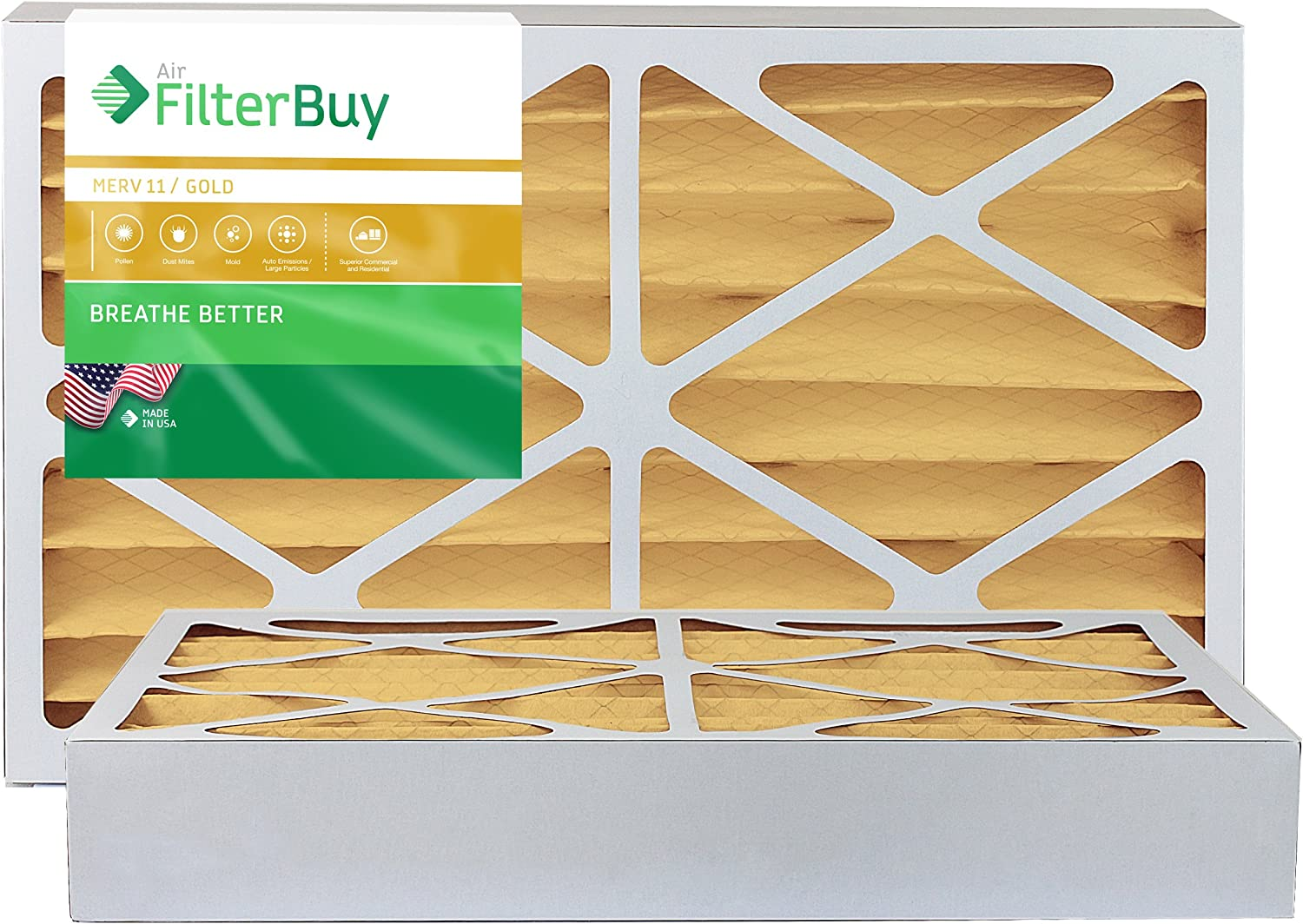 FilterBuy 16x20x4 MERV 11 Pleated AC Furnace Air Filter, (Pack of 2 Filters), 16x20x4 – Gold