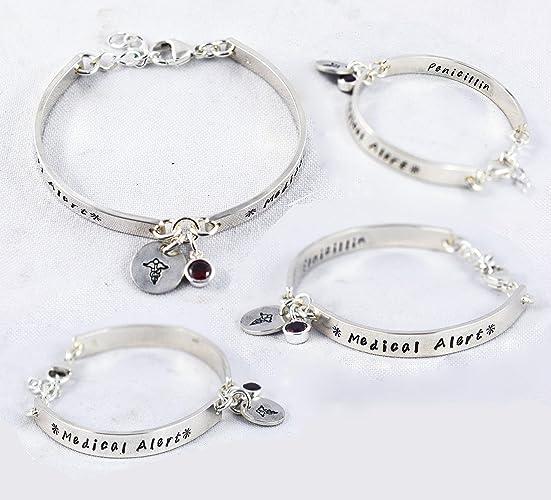 Fashionable Medical alert bracelet for women with Free engraving, ID  Medical Alert Bracelet - Custom Made in Sterling Silver