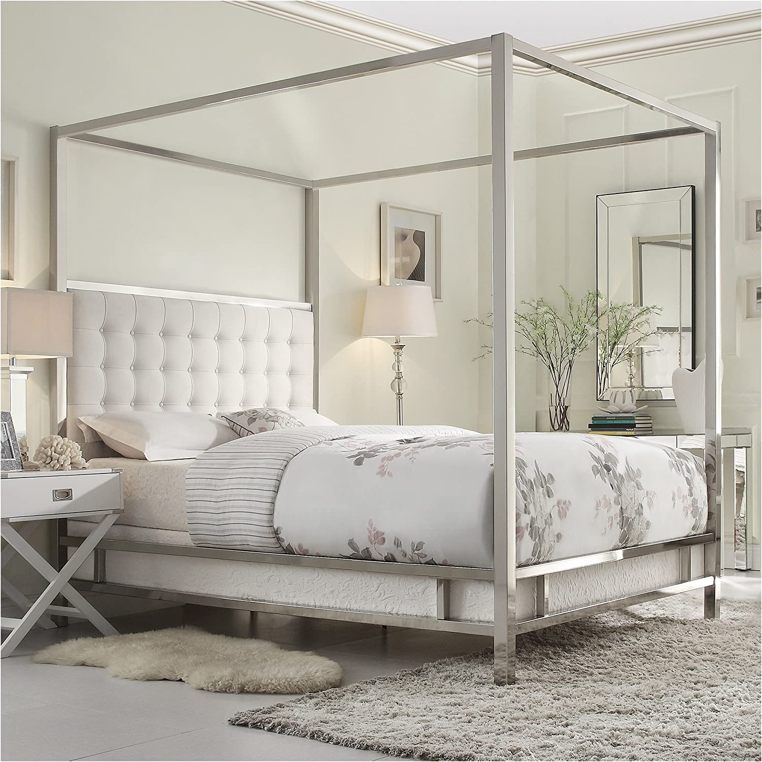 Amazon Com Modern Square Polished Chrome Canopy Poster Queen Bed