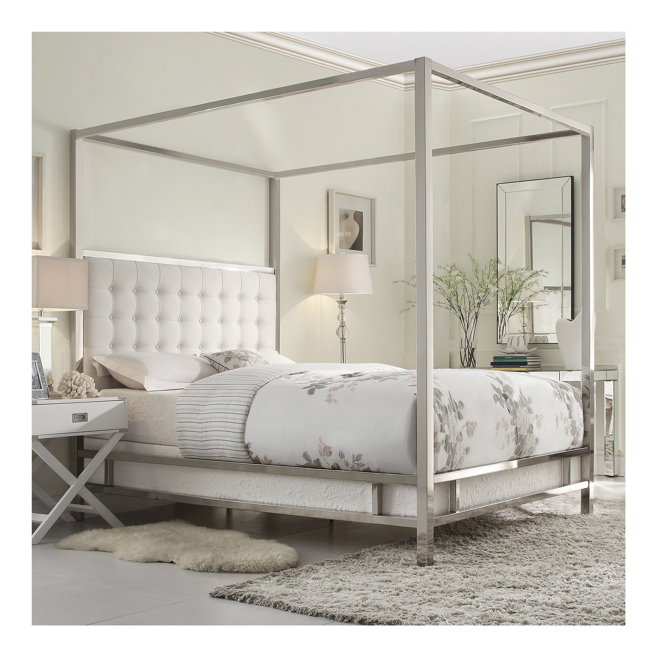 Modern Square Polished Chrome Canopy Poster Queen Bed with Off White Button Tufted Linen Upholstered Headboard Includes ModHaus Living (TM) Pen by ModHaus