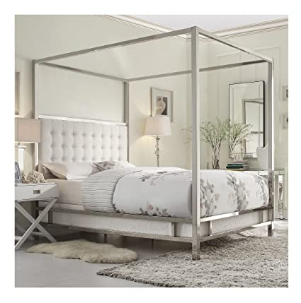 8ff4ebe3ee Amazon.com - Modern Square Polished Chrome Canopy Poster Queen Bed with Off  White Button Tufted Linen Upholstered Headboard Includes ModHaus Living  (TM) Pen ...