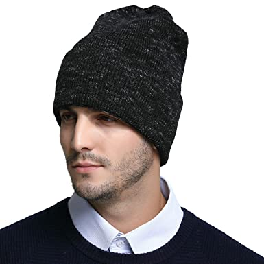 RIONA Men s Australian Merino Wool Knit Cuffed Beanie Hat Warm Winter Skull  Caps Headwear (Black 53e24baedd05