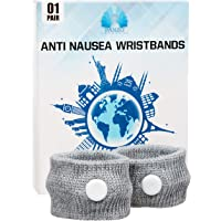 Pair of Anti Nausea Acupressure Travel Bands, Reduce Feelings of Motion, Morning, Travel and Many Other Sickness Feelings, Soft Comfortable Wristbands