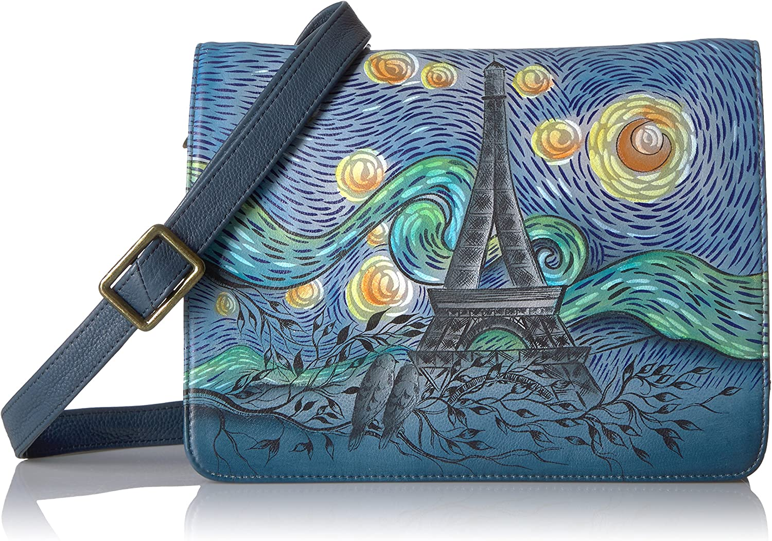 Anna by Anuschka, Handpainted Leather Medium Saddle Crossbody-love In Paris