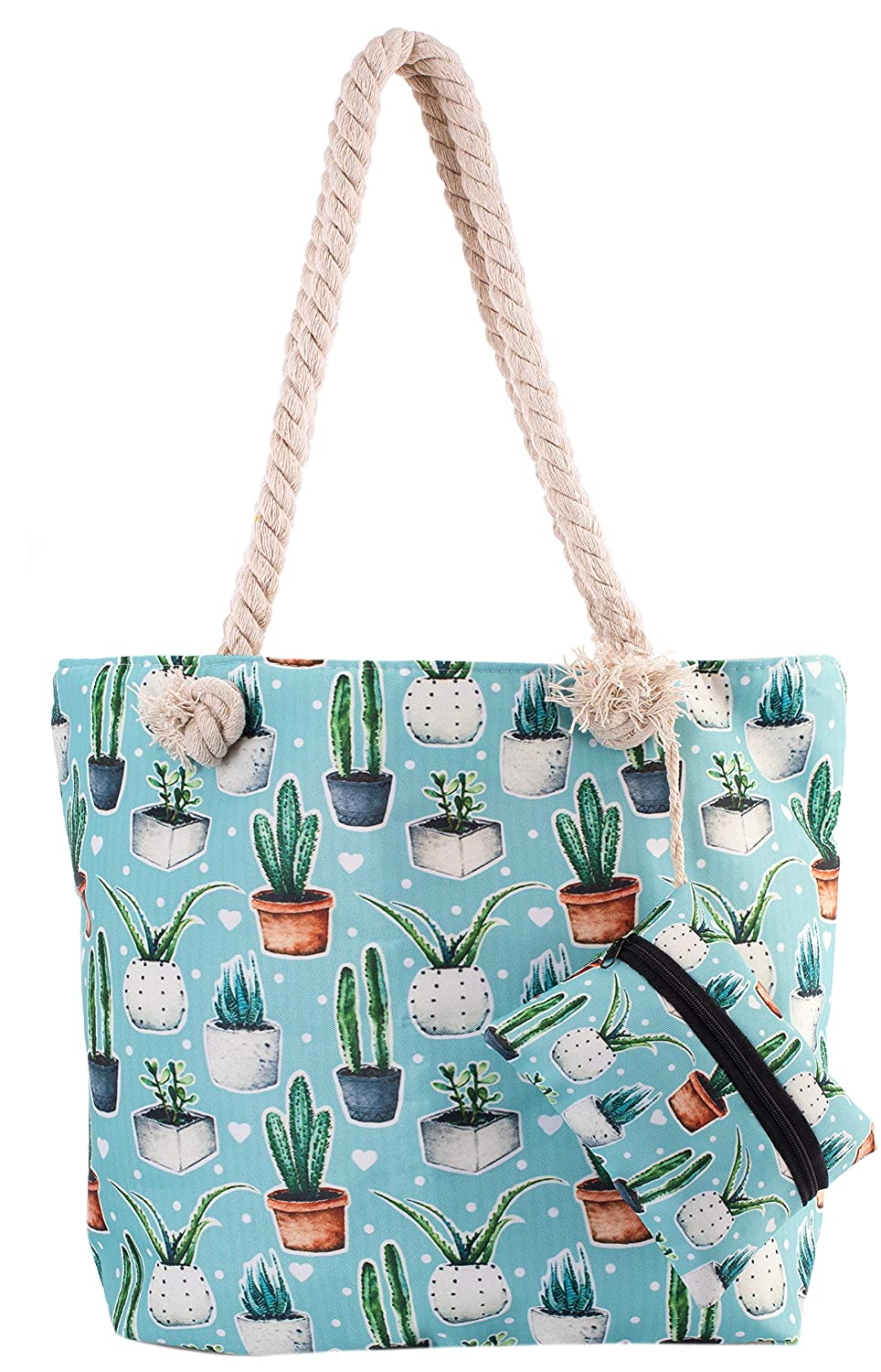 7b7e9db10f0b Cactus Beach Shoulder Tote Bag - Cactus Baby Blue Weekender Travel Bag